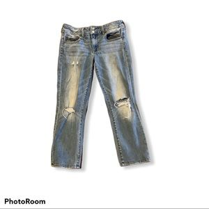 American Eagle Artist Crop Jeans Ss 8 Distressed